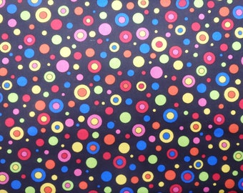 Rainbow Polka Dots, Spot Fabric, Circles Fabric, Colorful Dots on Black, By the Half Yard