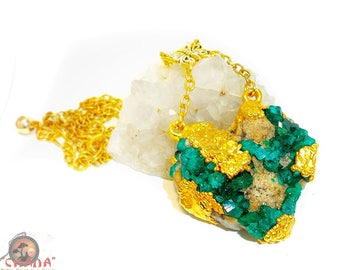 """Yellow gold Plated pendant """"The Heart Of The Forest"""" with crystals of Dioptase natural (deposits of stone - Kazakhstan)"""