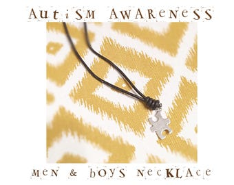Autism Awareness Necklace, Mens Autism Necklace, Boys Autsim Necklace, Autism Speaks Jewelry, Puzzle Piece Charm