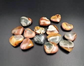 Colorful Desert Jasper Polychrome Jasper Puffy Hearts, Tumbled Pocket Stone, Valentine Heart, Crystal Heart, Gemstone Heart, Worry Stone