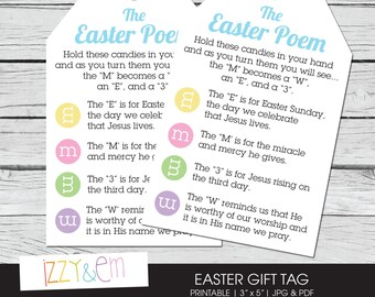 Easter Poem -  Easter Gift Tag - Printable Gift Tag - Kids Easter Gift - Gift Tags for Favors - Religious Easter Card - Printable Easter Tag