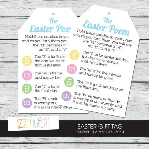 Easter poem easter gift tag printable gift tag kids negle Images