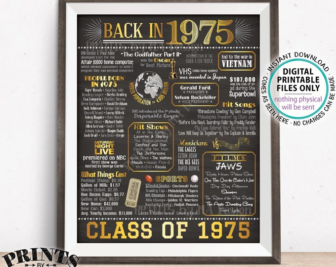 """Class of 1975 Reunion 43 Year Reunion Back in 1975 Flashback to 1975 43 Years Ago, Gold, PRINTABLE 8x10/16x20"""" Chalkboard Style Sign <ID>"""