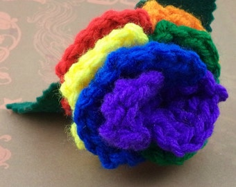Crocheted Rose Hair Barrette - Rainbow (SWG-HB-RB03)