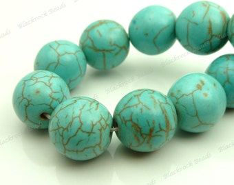 14mm Turquoise Blue Magnesite Gemstone Beads - 15pcs - Round, Opaque, Brown Veining, Howlite - BE8