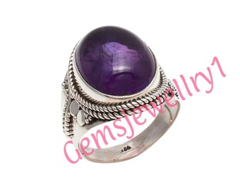 Amethyst Ring, 925 sterling silver, Girl Women Ring, Stone Ring, Amethyst Stone Ring,Christmas Gift Ring,US Size 5 6 7 8 9 10 11 12 13 14  5