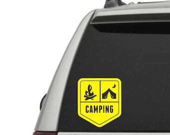 Camping Badge Vinyl Decal - The Great Outdoors - Car Window Decal or Laptop Decal - Choose your Size and Color