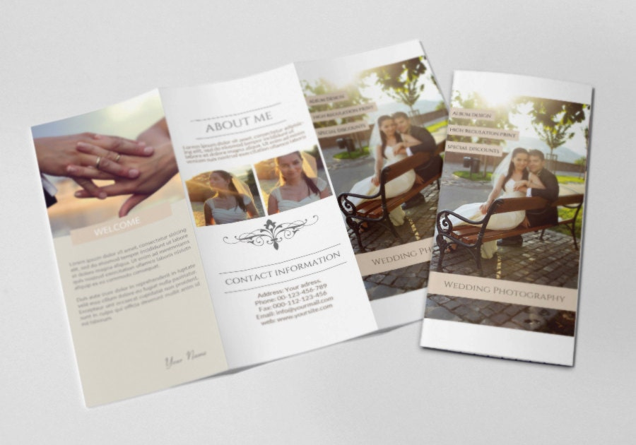 photography trifold brochure template elegant promotional wedding brochure template
