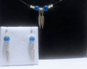 Set Necklace Earring feathers and beads