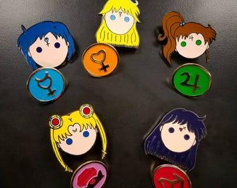 Sailor Scout Enamel Pins - Kawaii - Mercury, Venus, Moon, Mars & Jupiter