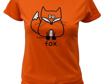 Womens funky FOX fitted orange T.shirt.