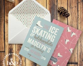 Winter Ice Skating Birthday Party Invitation