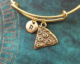 Pizza Bangle Gold Pizza Bracelet Pepperoni Pizza Charm Bracelet Pizza Jewelry Pizza Slice Adjustable Expandable Bangle Personalized Bangle
