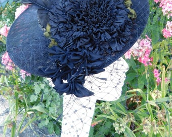 Chapeau noir Fun bibi Ruban Rose plumes filet de fard à joues