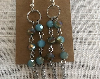 Aqua Czech Glass Chandelier Earrings