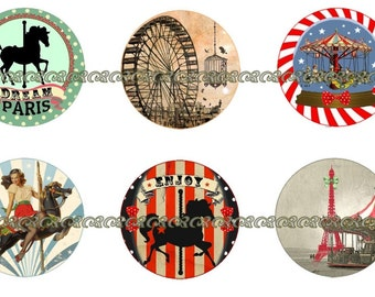 Carousel Magnets~Carousel Pins~Birthday Favors~Party Favors~MerryGoRound Pins~Fridge Magnets~Thecatslave~1 Inch Flat, Hollow BK| 12ct