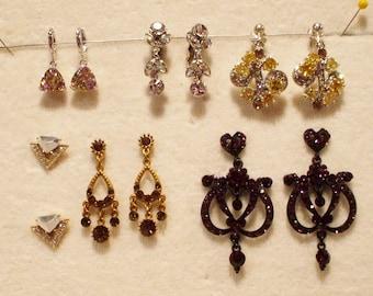 6 Pair Vintage Clip/Pierced Rhinestone Earrings
