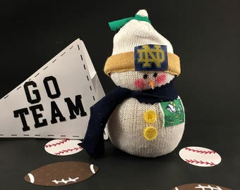Notre Dame,Snowman,Fighting Irish,Gift for Notre Dame fan,Notre Dame jersey,Notre Dame fan gift,Gift for Fighting Irish fan,sock snowman