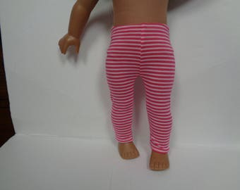 Pink Stripped Knit Leggings for 18 Inch Dolls--Shown on my American Girl Doll