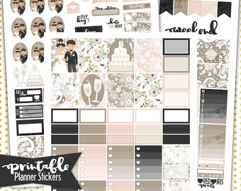 Wedding Day Weekly Kit | PRINTABLE Planner Stickers | Pdf, Jpg, and Png Format | ECLP Vertical Planner Stickers