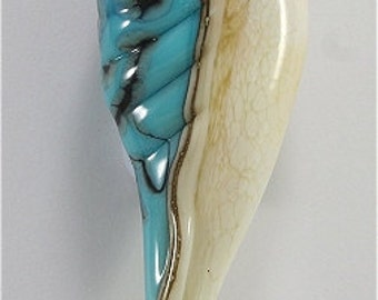 Lampwork Glass Leaf Bead Handmade - SRA Blue Ivory Cream Black Silver