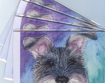 4 x Schnauzer dog greeting cards all ears bearded snout salt and pepper miniature standard giant from a Susan Alison watercolor painting