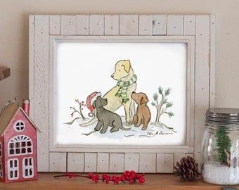 Labrador Christmas Art, Dog Holiday Print, Lab Christmas Art, Lab Winter Art, Black, Yellow, Chocolate, Holiday Decor, Dog Lover Gift