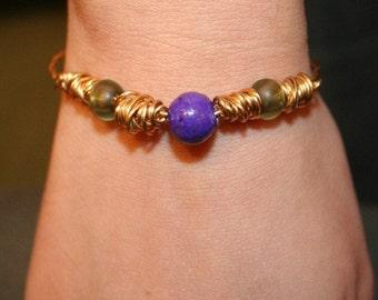 Brass Three Stone Bracelet