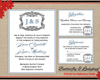 Printable Wedding Invitation Suite- Ornamental Monogram (DIY Press-Ready DIGITAL File) w/ Enclosure Cards