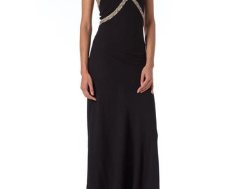 1930s backless Bias Cut Silk Crepe Beaded Halter Gown