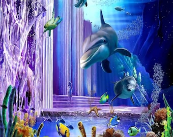 Magical Underwater World 10ft x 10ft Backdrop Computer Printed Photography Background XLX-962