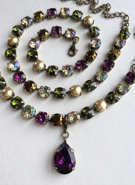 """Swarovski Crystal and Pearl 8.5mm Necklace - """"Medieval Renaissance"""" Gorgeous Amethyst, Olive, Luminous Green, Golden Pearls -FREE SHIPPING"""