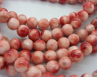 47 jade 8 mm, jaspe pink, red stone of life