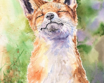 Fox watercolor Print of the Original Watercolor Painting Wild  Original Fox Art Fox illustration Wild Nature