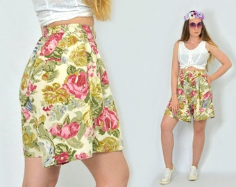 Floral shorts Printed Vintage Super high waisted hippie festival woman 90s S/M
