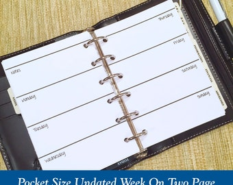 UNDATED Pocket Size Week On Two Page Planner Inserts - 6 Month Supply