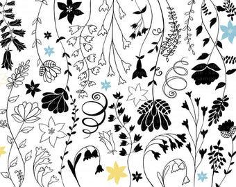 Blue Bell Flower Images, Hand Drawn Doodles, Printable Floral Digital Stamps + Photoshop Brush, Vine Outline Clip Art, Fairy tale