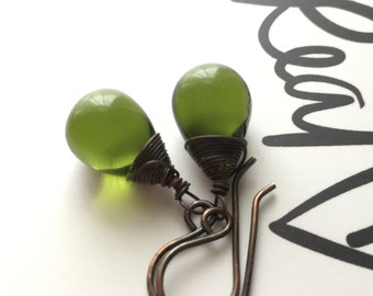 Dark Olive Green Drop Earrings. Green Bead Copper Earrings. Oxidized Copper Earrings. Teardrop Earrings. Briolette Earrings. Nickel Free