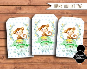 Monkey Thank You Gift Tags. Jungle Animal Thank You Gift Tags. Monkey Birthday Party. Baby Shower