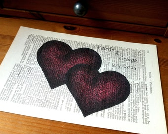 Two Hearts Valentine Wedding Anniversary Engagement Gift Art Print on Antique 1896 Dictionary Book Page