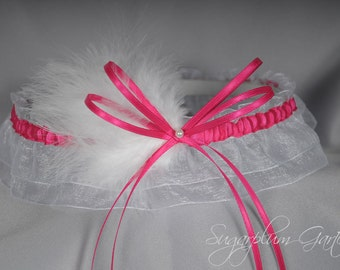 Wedding Garter in Hot Pink and White with Pearl and Marabou Feathers