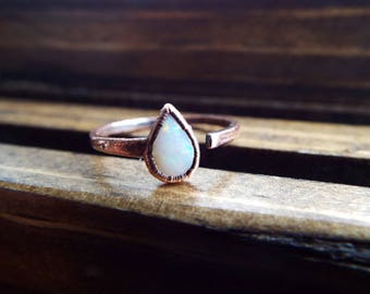 Opal and Copper Electroformed Open Ring | Size 5
