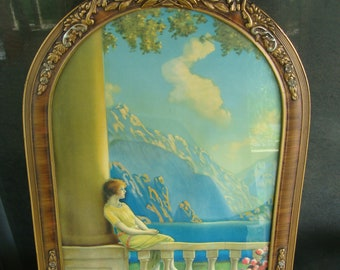 Antique Art Nouveau Color Print Framed In Original Period Gesso Frame Maxfield Parrish Atkinson Fox Type 1920's