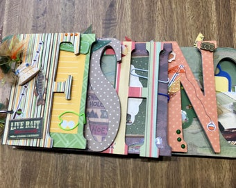 FISHING Premade Chipboard Word Album Just Add Photos