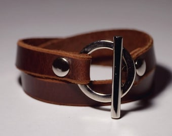 Brown Leather Bracelet Wrap Bracelet Leather Cuff  with Toggle Clasp