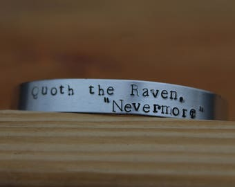 """Edgar Allan Poe - The Raven Metal Stamped Poetry Quote Cuff Bracelet - Quoth the Raven, """"Nevermore"""" literary jewelry"""