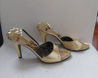 Gold Strappy Heels - Evening Sandals - Size 7