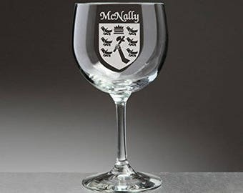 McNally Irish Coat of Arms Red Wine Glasses - Set of 4 (Sand Etched)
