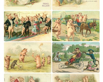 PARTY PIGS Vintage Images - Instant Download Digital Collage Sheet