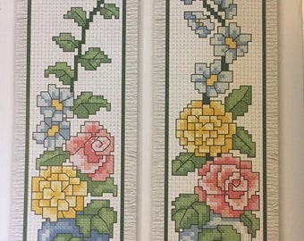 Finished cross stitch bookmark, flowers with vine